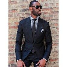 2019 שחור אופנה גברים של Slim Fit עסקי גברים אופנה 2 חתיכות תפור לפי מידה חליפות חתן הטוב ביותר חליפות חתונה