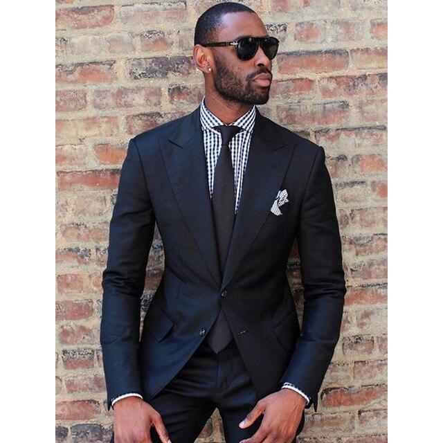 2019 noir mode hommes Slim Fit Business costume hommes mode 2 pièces sur mesure costumes marié meilleurs costumes de mariage-in Costumes from Vêtements homme    1