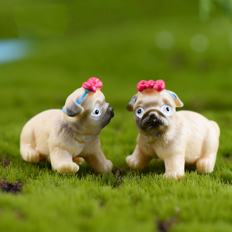 2 Pcs Cute Pug Dog Figurine Bonsai Animal Model Home Decor Miniature Fairy Garden Decoration Accessories Statue