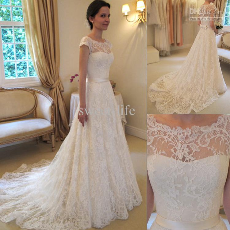 89303f9860fc SE-10 Romantic Lace Wedding Dress 2017 New Fashion Scoop Cap Sleeve Chapel  Train Luxurey Long Bridal Gown Vestido de noiva