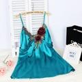 Noble Sexy nightwear Mini Sleepwear Silk Satin Nightgown Flower Embroidery Sexy Charming Temptation Lingerie Nightgowns 0018