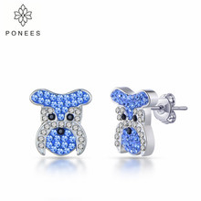 PONEES 2019 New Fashion Pave Crystal Cute Schnauzer Dog Stud Earrings For Women Animal Jewelry Free Shipping