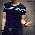 GustOmerD 2017 Marca Fahion Verano de Manga Corta Cuello Para Hombre T-shirt de gaza slim fit men clothing tops camisetas de algodón camiseta de los hombres
