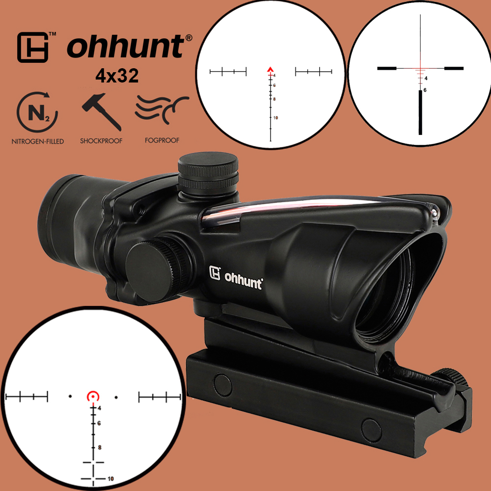 ohhunt Hunting 4X32 ACOG Real Fiber Scope BDC Chevron Horseshoe Reticle Tactical Optical Sights for cal