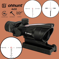 ohhunt Hunting 4X32 ACOG Real Fiber Scope BDC Chevron Horseshoe Reticle Tactical Optical Sights for cal .223 .308 Print LOGO