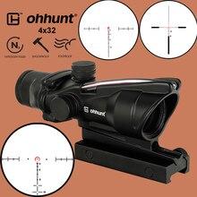 ohhunt 4X32 ACOG ไฟเบอร์จริง Riflecope BDC เส้นเล็งรูปเกือกม้า สายตายุทธวิธี สำหรับ cal .223 .308 พิมพ์โลโก้
