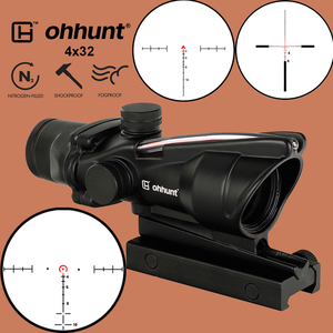 Image 1 - ohhunt Hunting 4X32 Real Fiber Scope BDC Triangle Horseshoe Reticle Tactical Optical Sights for cal .223 .308 Print LOGO