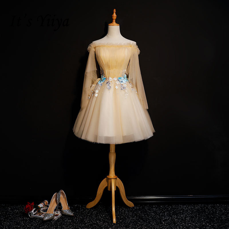 It's YiiYa   Cocktail     Dress   Embroidery Floral Appliques Beading Boat Neck Light Khaki Mini Party Gowns Short robe de soiree MN009
