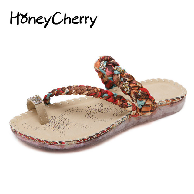 ab5238f09d073 2017 New Folk Style Sandals Bohemia Diamond Toe Shoes Beach Shoes size 35-41  Sandals