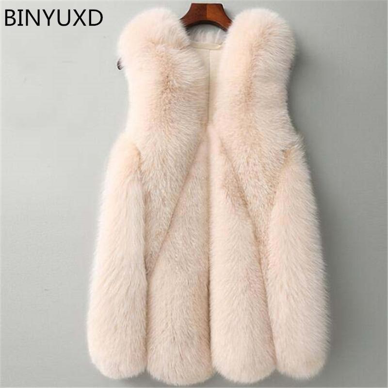 BINYUXD Winter Warm Vest New Arrival Fashion Women Import Coat Fur Vest High Grade Faux Fur