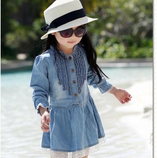 2019 nueva primavera y otoño de alta calidad vestido de niña niños Lovely Denim azul hermoso encaje vaquero ropa manga larga vestido ocasional