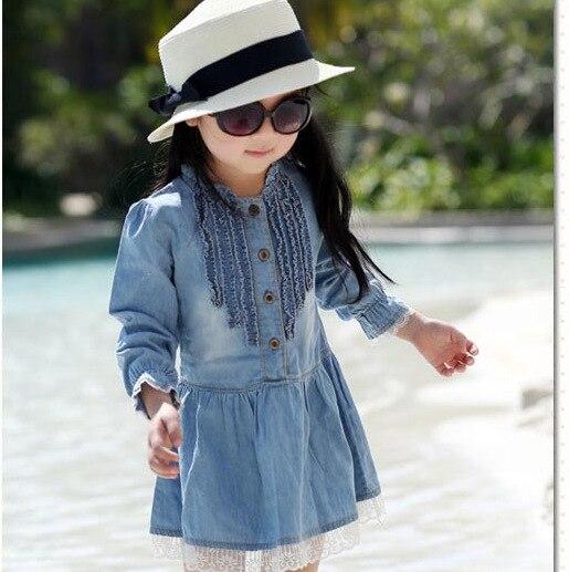 2019 nieuwe lente & herfst hoge kwaliteit meisje kinderen jurk mooie denim blauw mooie kant cowboy kleding lange mouwen casual jurk