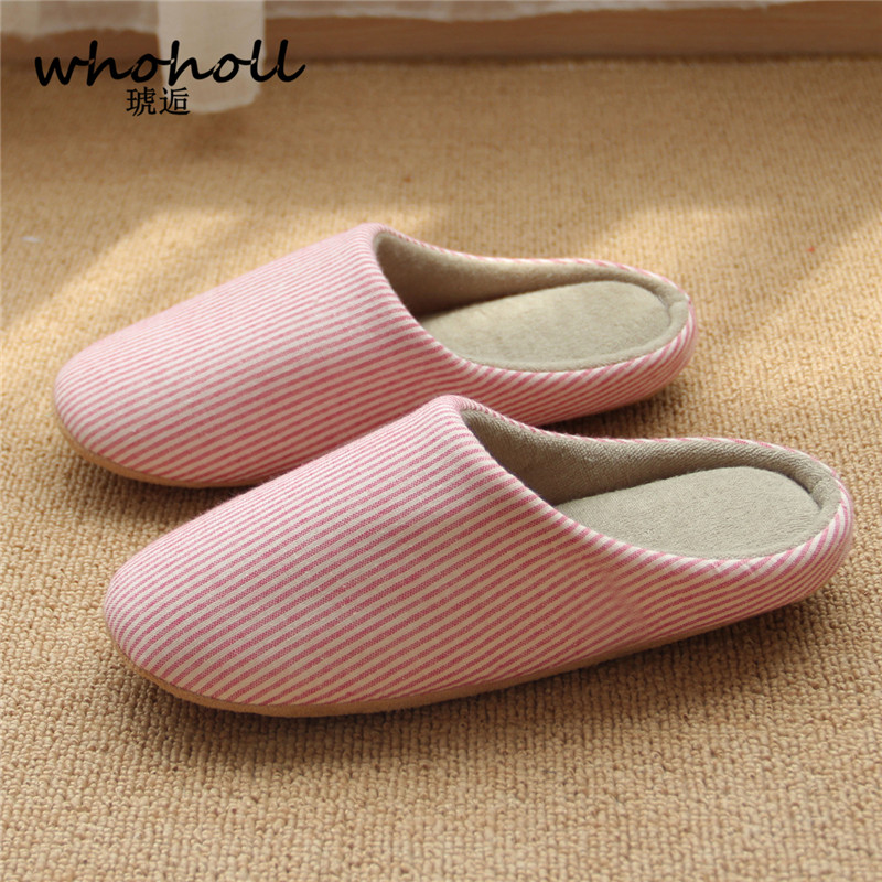 Whoholl Striped Soft Bottom Home Slippers Cotton Warm Shoes Women Indoor Floor Slippers Non-slips Shoes for Bedroom House home slippers soft plush cotton cute slippers shoes non slip floor indoor house home fur slippers women shoes for bedroom