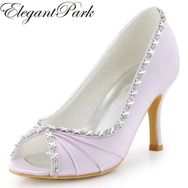 54c784de387f Femmes Chaussures Lavande Demoiselle D honneur À Talons Hauts Strass Pompes Satin  De Bal Formelle