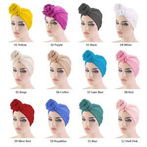 Image 2 - Gorro para quimio con nudo para mujer, gorro para la caída del pelo, Hijab musulmán, sombreros de turbante largo, pañuelo para la cabeza, bufanda árabe islámica, nudo de Color sólido 180*70cm