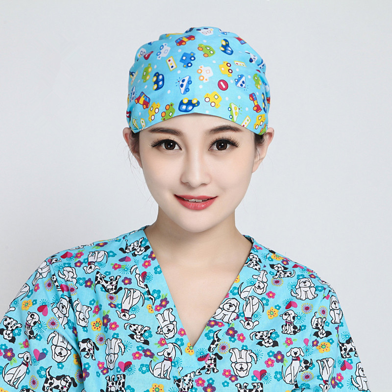 Women Men Solid Lab Doctor Nurse Printing Scrub Hats Unisex Medical Surgical Newest Surgery Cap GPD