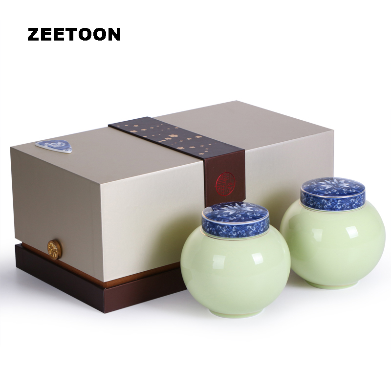 Chinese Celadon Tea Caddies Blue and White Porcelain Ceramic Tea Cans Cereals Seal bottle Storage pot Candy Spice Jar Canister
