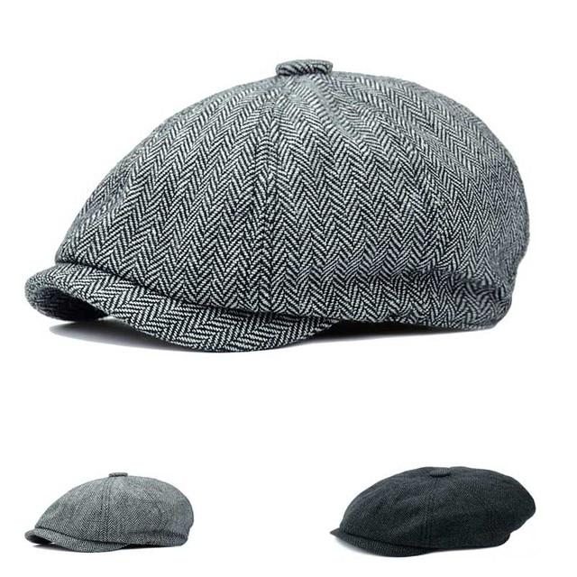 5265fb6191a Fasion Women Men Flat Cap Herringbone Baker Boy cap Cotton Newsboy Cap  Berets Unisex Grey Hats back side elastic Free Shipping
