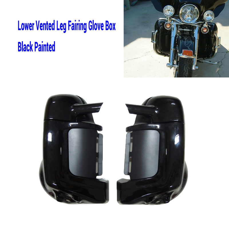 Painted Black Lower Vented Leg Fairing Gloves Box For Harley Road King Street Glide Electra Glide Ultra-Classic 1983-2008 2013 6 5 speaker lower vented fairing box pods for harley touring flht flhx fltr electra street glide road king ultra classic