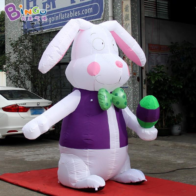 Пасхальный фестиваль 2,4 метров высокий большой надувной кролик с яичным заказным цифровым принтом надувной стоящий кролик игрушка Спорт - 2