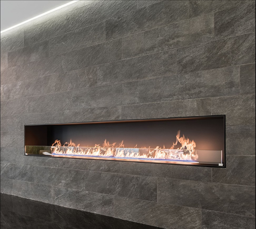Inno Living Fire 60 Inch Real Flame Silver/black Smart Control Design Fireplace Bioethanol