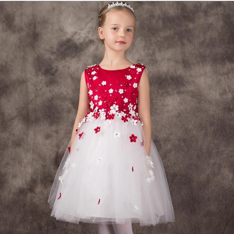 New Brand 2017 Baby Girl Sleeveless Clothing Children Mini Kids Princess Dresses For Party Flower Girl Vestido SKF154021