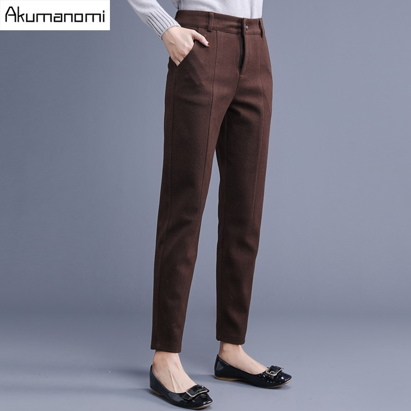 Autumn Winter Full Length Pencil Pants Brown Black Zipper Fly Pleated Pocket Trousers Women's Trousers Spring Panty Plus Size