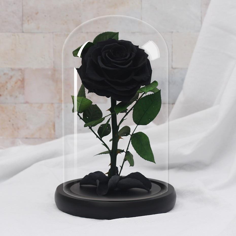 Подарки ко дню Святого Валентина красота и чудовище роза цветок в стеклянном куполе Рождество для украшения стола вечные цветы - Цвет: black