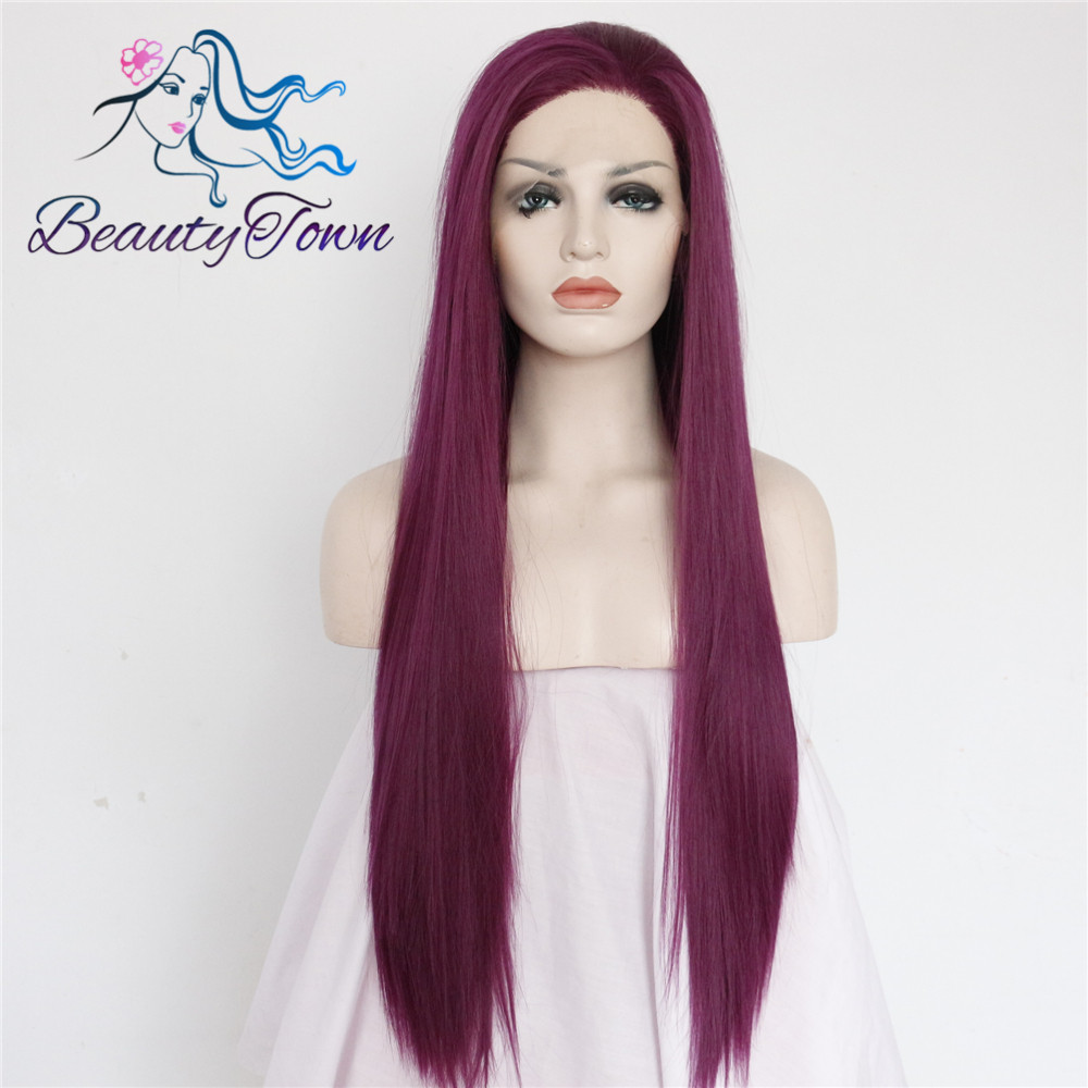 BeautyTown Purple Color Heat Resistant Hair Hand Tied 150 Density Cosplay Perruque Synthetic Lace Front Wig