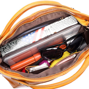 Image 5 - Women Oil Wax Leather Designer Handbags High Quality Shoulder Bags Ladies Handbags Fashion brand PU leather women bags WLHB1398