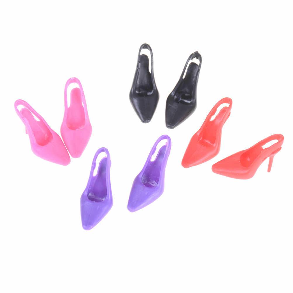 1 זוג 4 צבעים ילדים מתנה גבוהה העקב ערב המפלגה ללבוש נעליים עבור ברבי עבור BJD בובת בגדי שמלת אבזרים