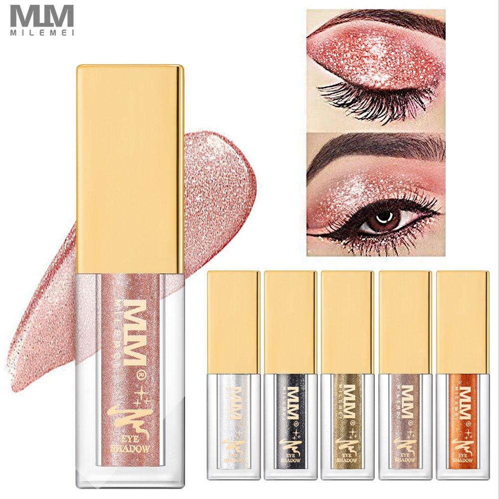 MILEMEI Liquid Glitter Eye Shadow Makeup Shimmer Eyeshadow Waterproof Shine Diamond 6 Colors Cosmetic