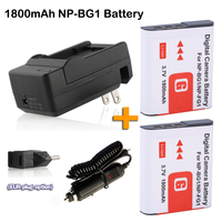 2x np bg1 BG1 FG1 digital camera battery +Car Charger for cyber shot dsc h3 dsc h7 dsc h9 dsc h10 dsc h20 Rechargeable Battery