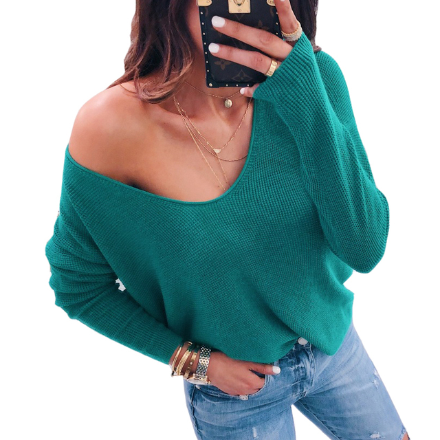 ab821c806 2018 Sexy V Neck Autumn Winter Sweater Loose Off Shoulder Solid ...