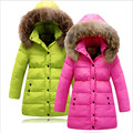 2016 winter new Children down jacket girls long down coat kids winter jacket hooded thick big fur collar button outerwear