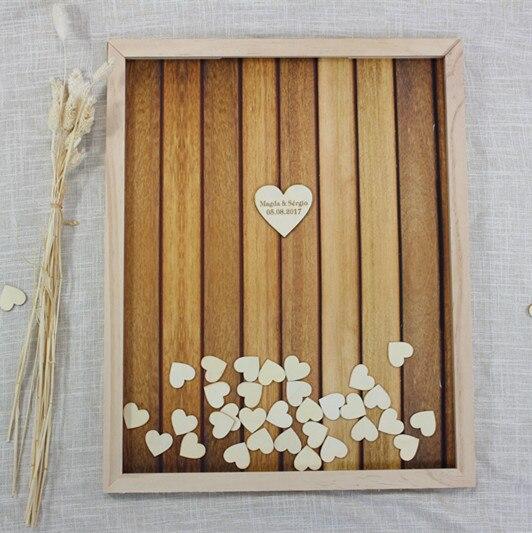 Cadre personnalisé de livre d'invité de mariage, livre de Signature de coeur en bois rustique, livre d'or alternatif de douche de bébé de baisse, décor de partie