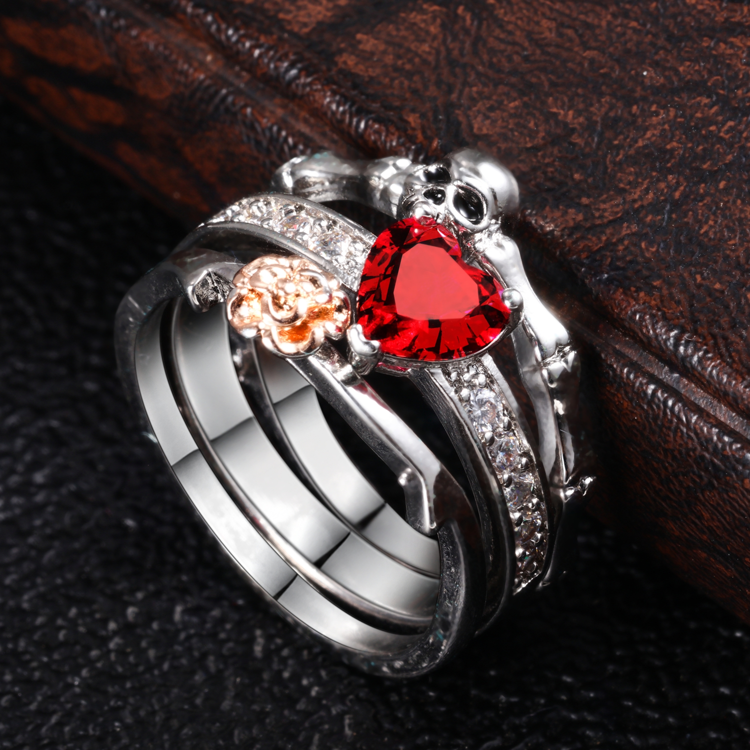 Skull Punk Ring set Women Red Heart Crystal Jewelry