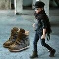 Venta caliente de moda de niño y niña cuero genuino botines botas altas alta calidad termal del invierno de los niños los niños calzado