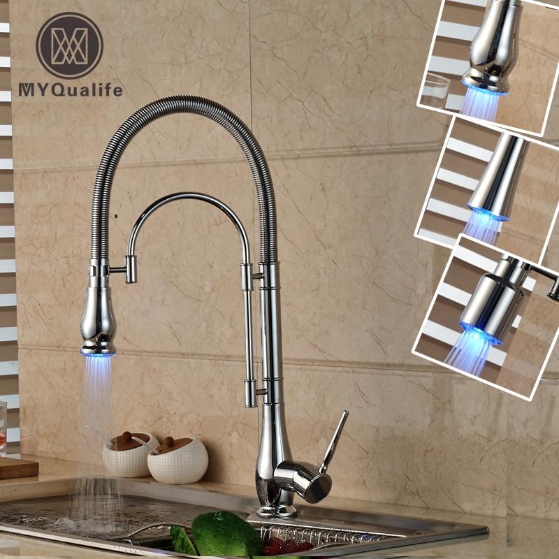 Fashion LED Light Spout Kitchen Crane Faucet Single Lever Deck Mounted Brass Kitchen Mixer Water Cock