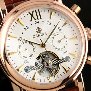 Image 3 - ORKINA Classic Day Date Calendar Automatic  Tourbillon Brown Leather Strap Analog Mens Mechanical Watch Rose Gold Montre Homme