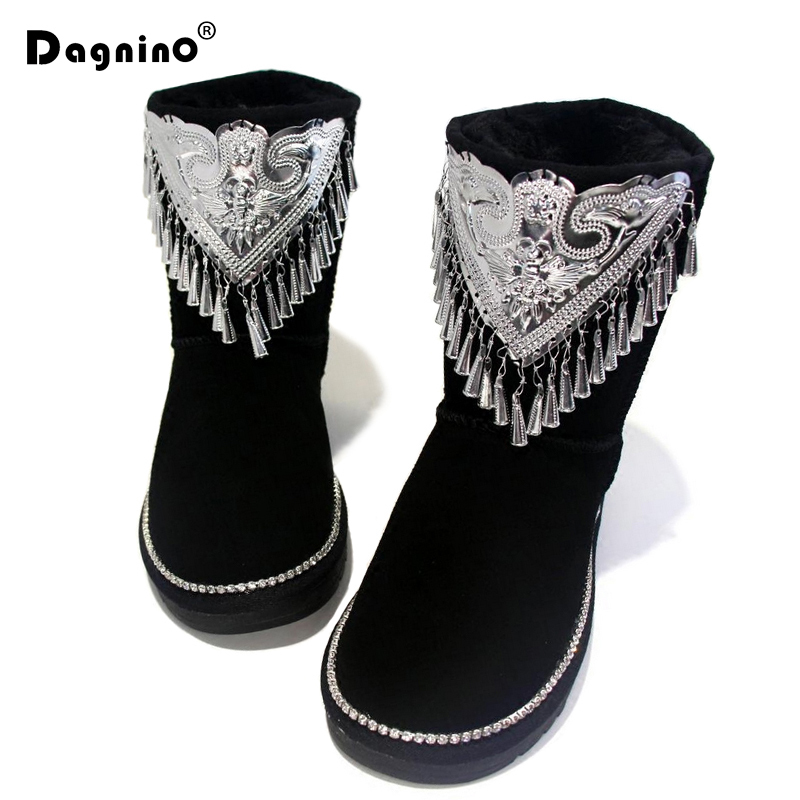 DAGNINO New Winter Warm Genuine Leather Snow Boots Ankle Women Crystal And Metal Decoration Flat Platform Tassel Australia Shoes 2016 rhinestone sheepskin women snow boots with fur flat platform ankle winter boots ladies australia boots bottine femme botas