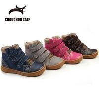 Botas de Cuero genuino niños botas de cuero 2018 del otoño del resorte zapatos de los muchachos zapatos niñas zapatos de cuero de cuero del tobillo patea los zapatos size25-30