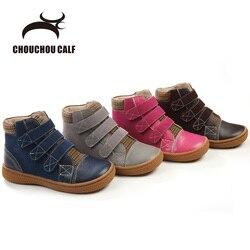 Botas de cuero genuino niños zapatos botas de cuero de primavera y otoño niñas botas de cuero zapatos de niños de cuero tobillo botas Zapatos size25-30