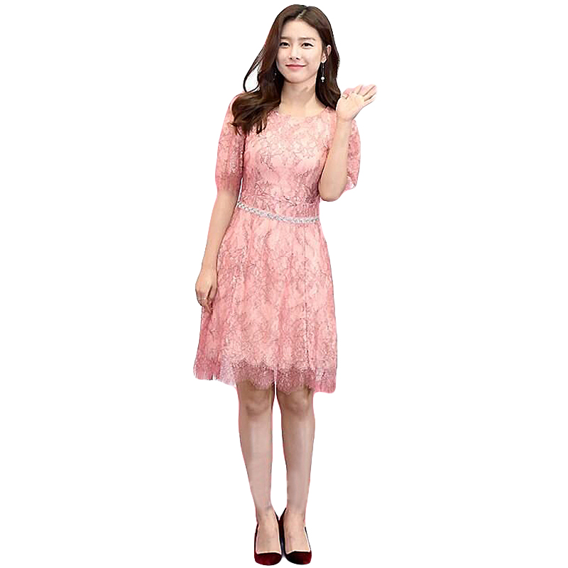 Filles Mode Été Vintage Courte Qualité De Haute Dentelle Nouvelles 2018 Sexy Rose Robes Parti Chic Femmes Robe Printemps Élégant xvqwPYwC