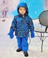Jupa зима россия мальчик ветрозащитный вниз хлопок одежда комплект, Дети мальчик марка куртки + комбинезон дети одежда