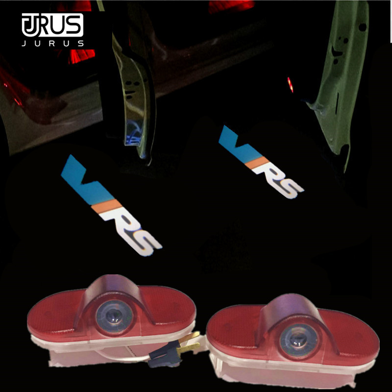 JURUS 2x LED Car Door Light Courtesy Logo Laser Projector Ghost Shadow welcome Lamp For Skoda Octavia 2004 2005 2006 2007 2008