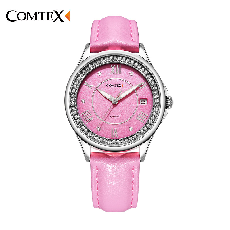 ФОТО Comtex Girl's Watch Casual Alloy Case Pink Leather Strap Shell Dial Face Analog Display Quartz Waterproof Calendar Butterfly
