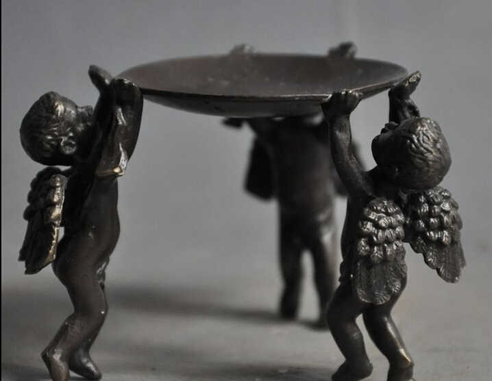 Livraison gratuite 004282 chine Folk recueillir vieux Bronze cupidon ange aile chandeliers Menorah plaque Statue
