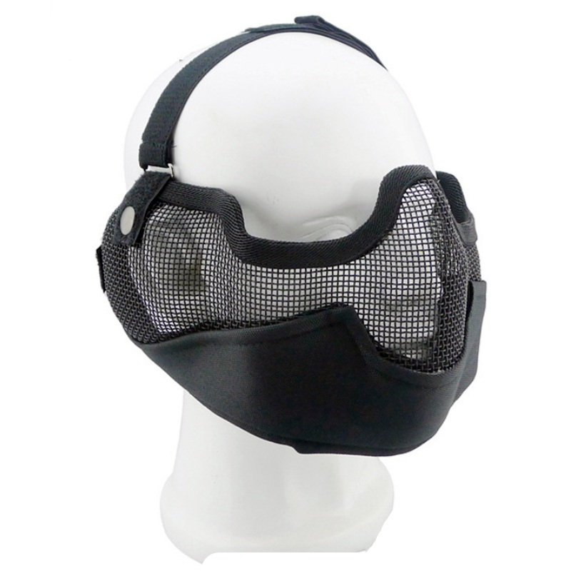 Airsoft Tactical V2 Strike Steel Half Face Mesh Mask With Ear Protection Outdoor Military Hunting Protective CS Paintball Mask