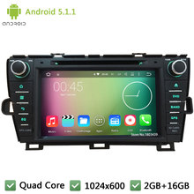 Quad core Android 5.1.1 2Din 1024*600 FM Car DVD Player Radio Stereo PC Audio Screen GPS For Toyota Prius Left driving 2009-2015